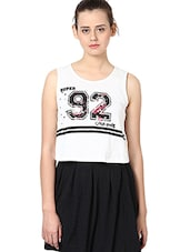 Off White Printed Cotton Sleeveless Short Top - By