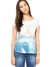 Off White Printed And Embellished Top - By