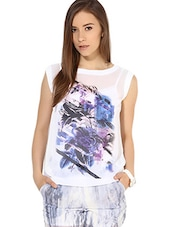Off White Abstract Cap Sleeved Top - By