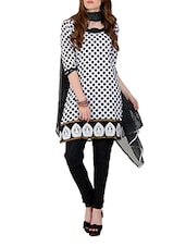 Monochrome Polka Dotted Unstitch Dress Material - Aaboli