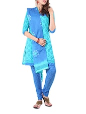 Turquoise Block Print Formal Unstitch Dress Material - Aaboli