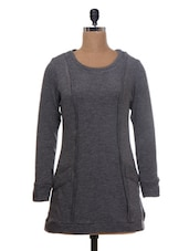 Solid Grey Woolen Jersey Pullover - By