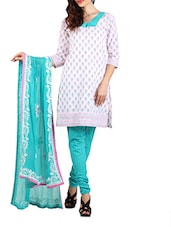 Cotton Turq Dress Material  With Dupatta - Aaboli