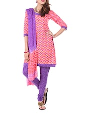 Cotton Pink Dress Material  With Dupatta - Aaboli
