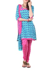 Cotton Blue Dress Material  With Dupatta - Aaboli