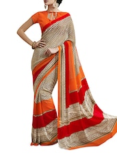Chiffon Cream Saree - Aaboli