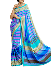 Striped Chiffon Blue Saree With Blouse Piece - Aaboli