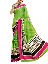 Printed Polka Dot  Chiffon Green Saree With Blouse  Piece - Aaboli