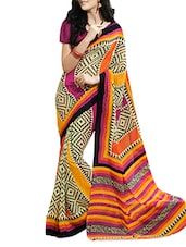 Printed  Chiffon Multi Colored Saree With Blouse Piece - Aaboli