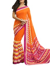 Printed  Chiffon Orange Saree With Blouse Piece - Aaboli