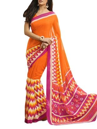 Printed  Chiffon Orange Saree With Blouse Piece