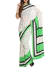Printed Contemporary  Chiffon White Saree With Blouse Piece - Aaboli
