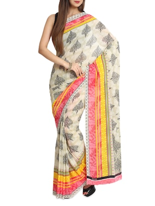 Printed Multicolored Chiffon Saree With Blouse Piece
