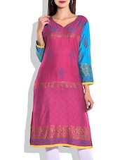 Fuchsia & Blue Rayon Printed Kurta - By