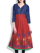 Red & Blue Rayon Printed Kurta - By