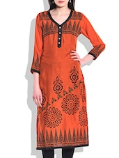 Neon Orange Rayon Printed Kurta - By