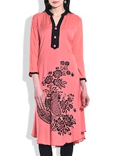 Peach Rayon Printed Kurta - By