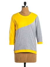 Grey & Yellow Colour Block Top - VEA KUPIA