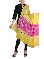 Cotton Bandhej Mirror Work Dupatta - By