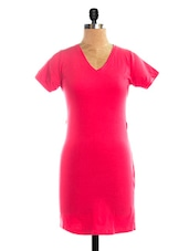 Red Solid Half Sleeves Dress - VEA KUPIA