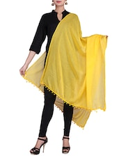 Yellow Solid Color Cotton Dupatta - By