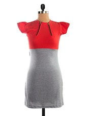 Red & Grey Colour Block Dress - VEA KUPIA