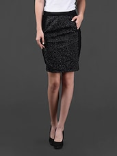 Black Skirt With Sequined Panel - VEA KUPIA