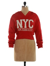 Red NYC Sweatshirt With Hood - VEA KUPIA