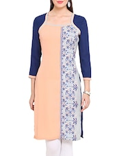 Blue And Peach Printed Quarter Sleeved Kurta - By