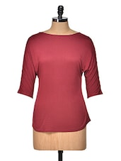 Maroon Back Bow Top - Femella