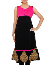 Black Embroidered Sleeveless Georgette Kurta - By