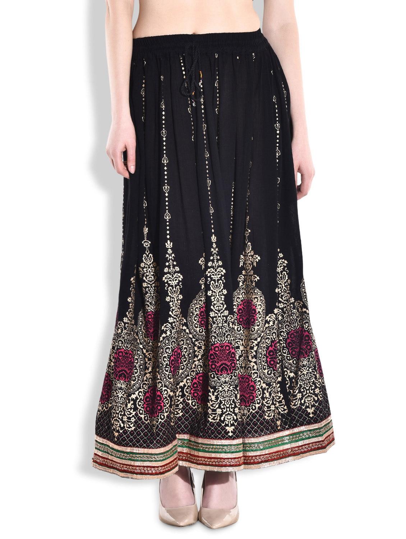 Black Printed Rayon Gathered Maxi Dress - By