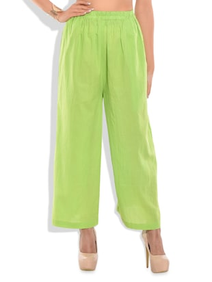 Green cotton solid palazzo -  online shopping for Palazzos