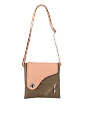 Feminine Leatherette Dual Tone Sling Bag - Bags Craze