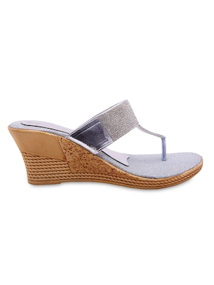 silver colour Leatherette  wedges