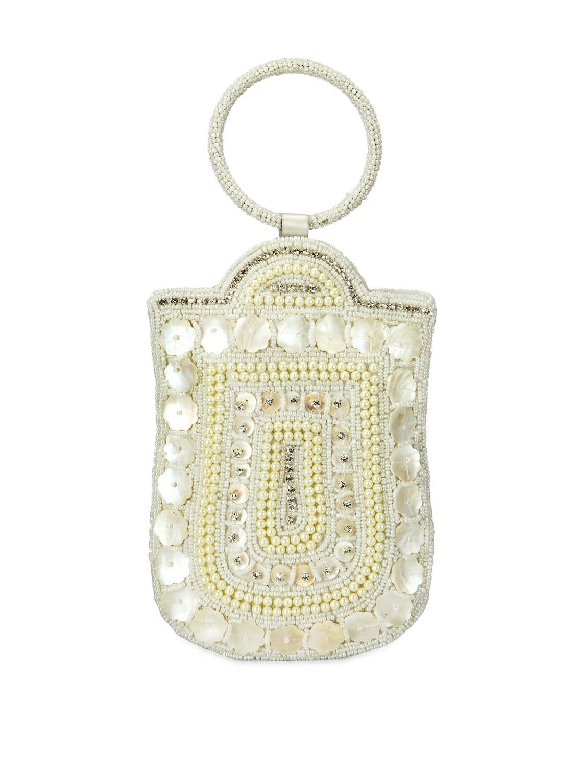 Beaded White  Mobile Pouch - Bags Craze