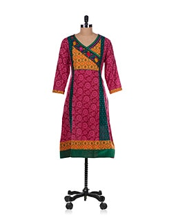 Wrap Neck Kurta In Pink - Varenya