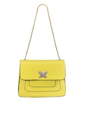 Yellow Leatherette Sling Bag - Bags Craze