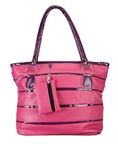 Pink And Purple Leatherette Bag - Bags Craze