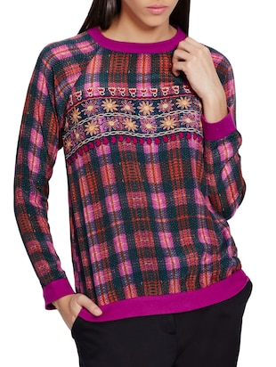 pink plaided and embroidered viscose crepe t-shirt