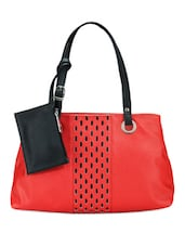 Red Leather Handbag With Black Pattern - Bags Craze