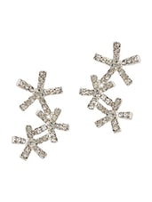 Everyday Trio Flower Crystal Studded Cluster Earrings - Fayon
