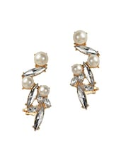 Contemporary Statement Crystals And Pearl Ear Cuff For Single Ear - Fayon