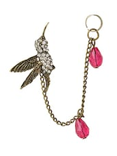 Golden Bird With Red Beads Ear Cuff For Single Ear - Fayon