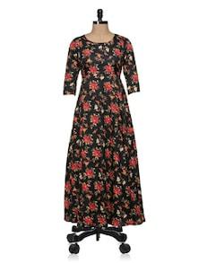 Black Floral Printed Maxi Dress - Magnetic Designs