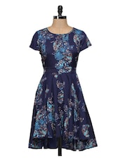 Blue Printed High Low Short Dress - Magnetic Designs