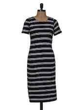 Black White Stripe Midi Dress - Magnetic Designs