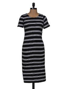Black White Stripe Midi Dress - Magnetic Designs