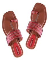 Red Synthetic Leather Sandal With A Hint Of Gold - Balujas