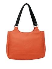 Orange Handbag With Black Strap - La Volsa